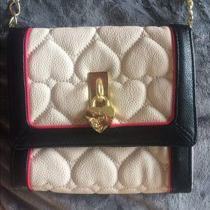 Betsey Johnson Black/White Quilted Heart Purse